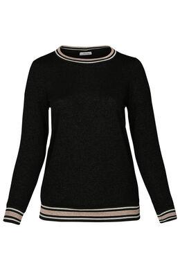Trui met sportswear-stroken, Zwart