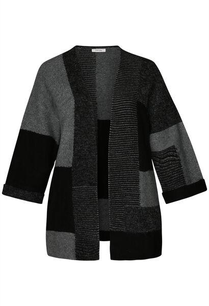 Cardigan long color bloc - Noir
