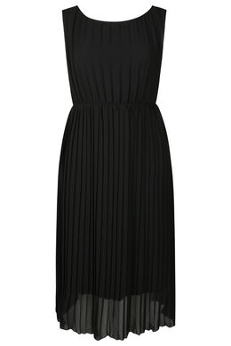 Lange jurk in plissévoile, Zwart