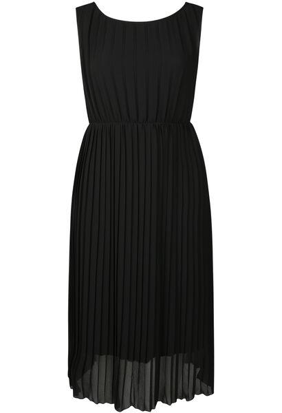 Lange jurk in plissévoile - Zwart