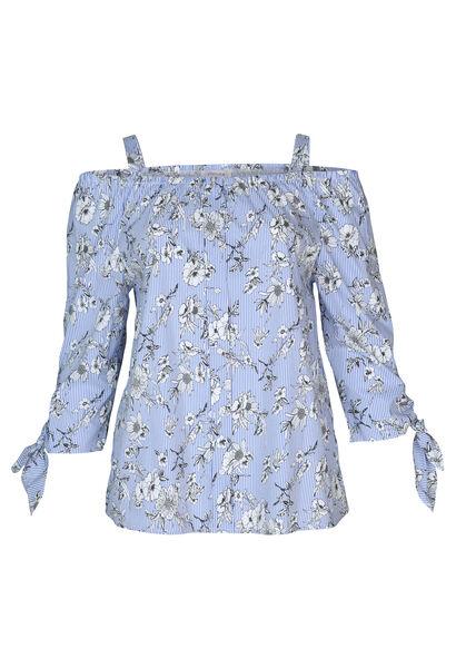 Gestreepte blouse met bloemen - Lichtblauw