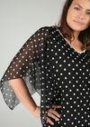 T-shirt imprimé pois col V avec perles, Noir