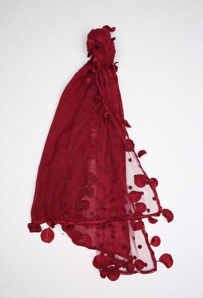 Effen sjaal van materiaalmix - Bordeaux
