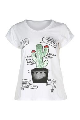 T-shirt imprimé cactus et sequins, Blanc
