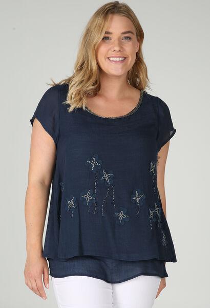 Dubbele bloes met korte mouwen - Marineblauw