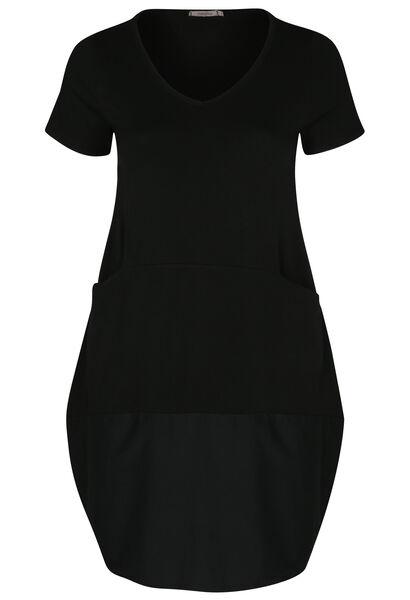 Jurk in tricot en katoen met opbollend effect - Zwart