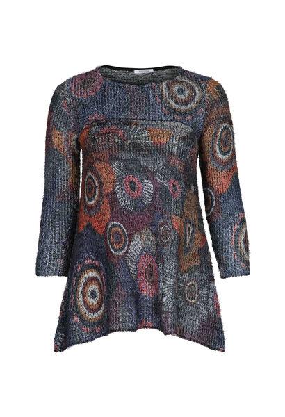Pull tunique effet poilu - multicolor