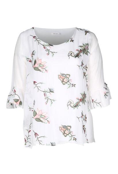 Blouse brodée de fleurs - Blanc