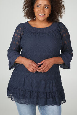 Tuniek t-shirt in geborduurde netstof en crêpe, Marineblauw