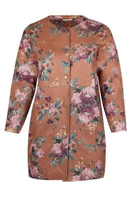 Lange jas in suèdine met bloemenprint, Camel