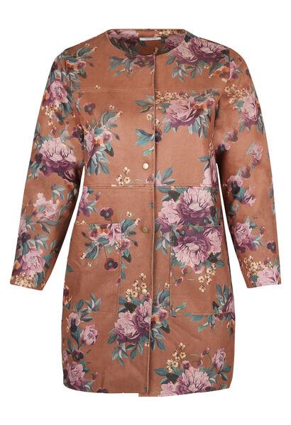 Lange jas in suèdine met bloemenprint - Camel