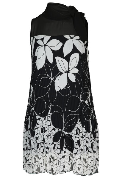 Robe en voile imprimé fleuri - Noir