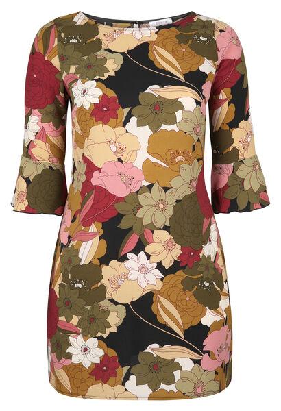 Robe housse imprimé grandes fleurs - Kaki