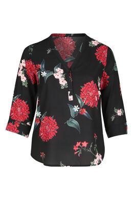 Blouse met bloemenprint en V-hals met knoopjes, Zwart