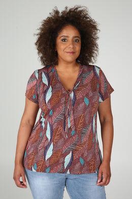 T-shirt in tricot met strikkraag, Oudroze