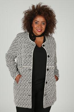 Lange jacquard mantel, Zwart