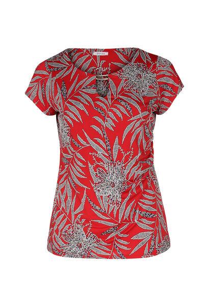 T-shirt maille froide imprimé feuilles - Rouge
