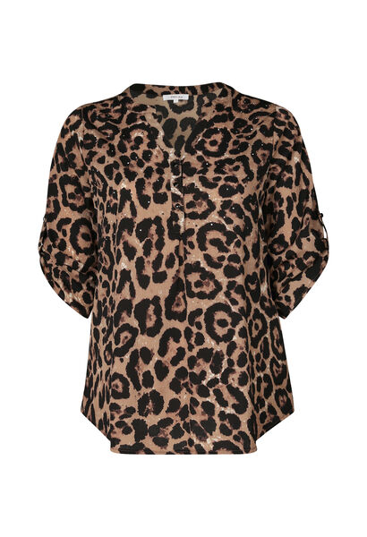Blouse imprimé léopard et strass - Camel