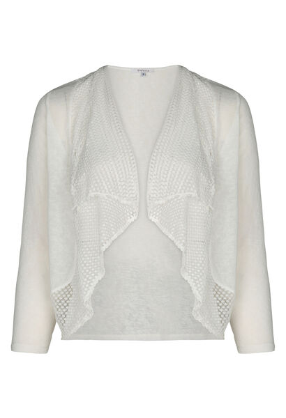 Cardigan maille lin et filet - Ecru