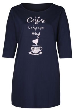 "Robe de nuit ""coffee is a hug in your mug"", Marine"