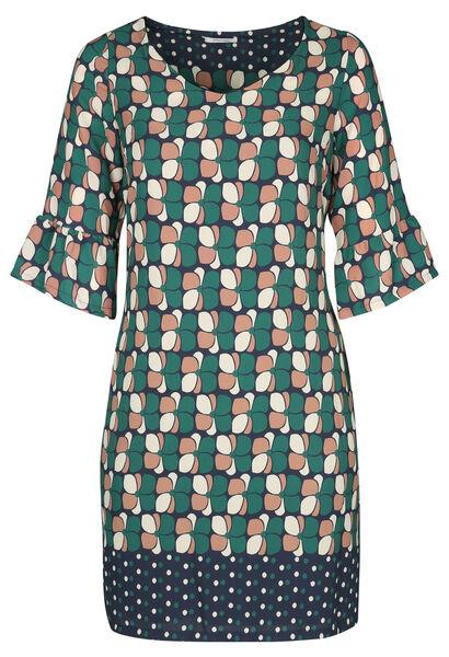 Rechte jurk met geometrische print - Groen
