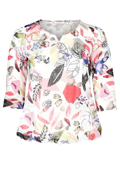 T-shirt maille lin imprimé feuillages - Corail