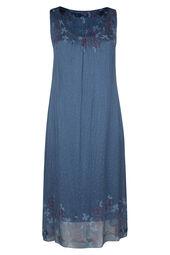 Lange, zijden jurk met bloemetjes en stippen