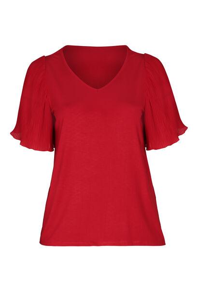 T-shirt met plissémouwtjes in voile - Rood