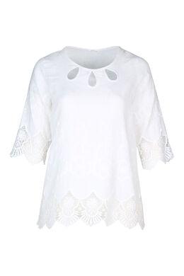 Bloes in linnen met borduurwerk, Wit