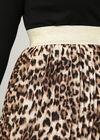 Jupe voile plissé imprimé léopard, Camel
