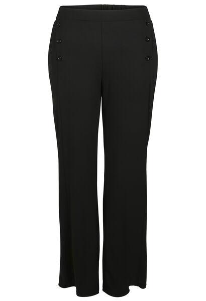 Soepel vallende broek met knoopdetails - Zwart
