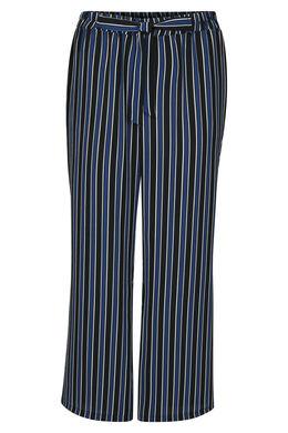 Pantalon large imprimé rayures, Noir
