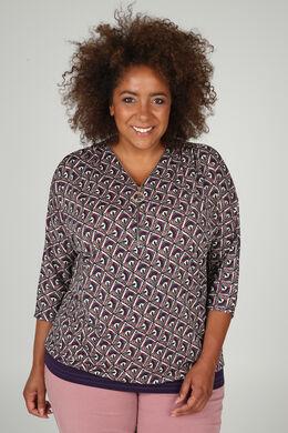 T-shirt met mozaïekprint en ritskraag, Violet