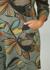 Robes sweat imprimé feuilles, Kaki