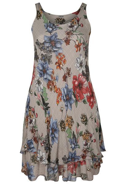 Lange jurk in gaas van linnen met bloemetjes - Multicolor