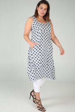 middenlange jurk in linnen met stippen, Lichtgrijs
