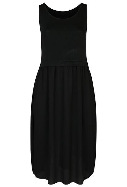 Longue robe bi-matière - Noir