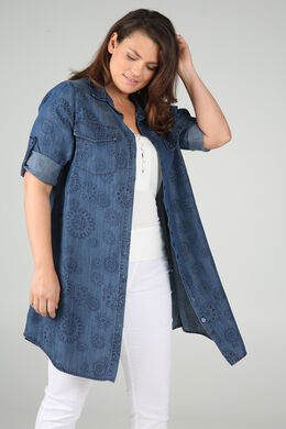 Long chemisier en lyocel imprimé fleuri, Denim