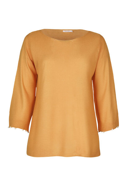 Pull manches avec perles - Ocre