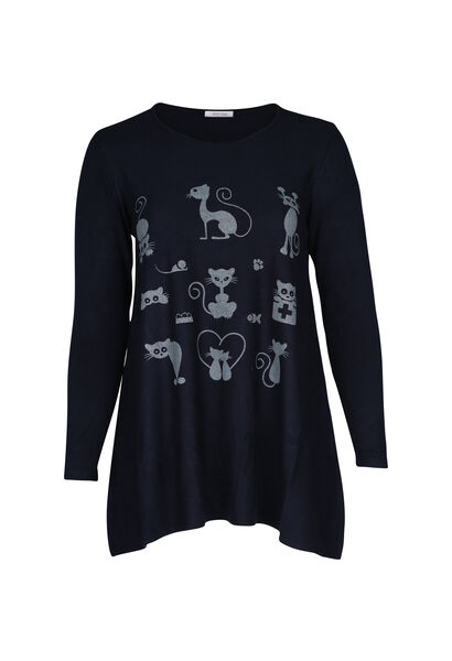 Trui met kattenprint - Marineblauw