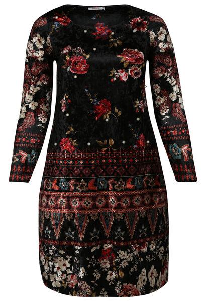 Jurk in velourstricot met bloemenprint en kraaltjes - Zwart