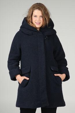 Manteau en laine avec capuche, Marine