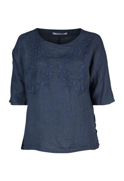 Bloes in linnen met borduurwerk - Marineblauw