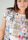 T-shirt en maille imprimée, Blanc