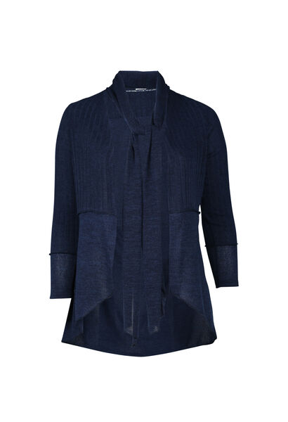 Lange, warme cardigan - Marineblauw