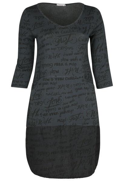 Robe effet boule imprimé écriture - Anthracite