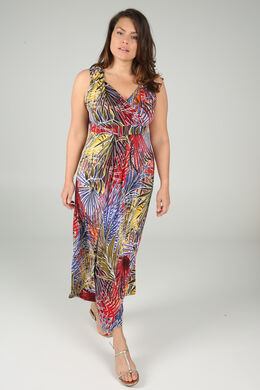 Lange jurk in tricot, Multicolor