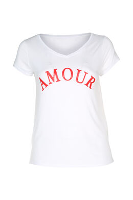 "T-shirt print ""amour"", Rouge"