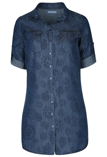 Lang hemd in lyocell met bloemenprint - Denim