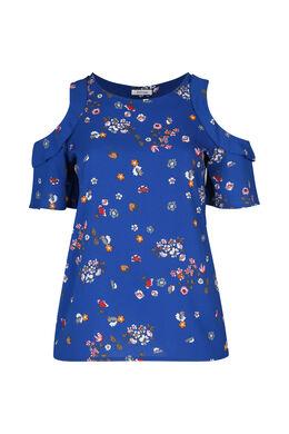 Bloes met bloemetjes en open schouders, Bic blauw